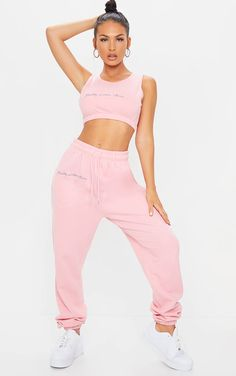 Plt Candy Pink Embroidered Oversized Joggers | PrettyLittleThing Swag Outfits For Girls, Tomboy Outfits, Cute Casual Outfits, Girl Outfits, Two Piece Dress, Two Piece Outfit, Joggers Outfit, Clothing Haul, Fit Team