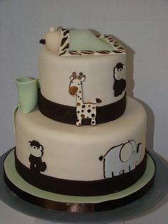 Safari baby shower cake by sweetcakesbyrebecca, via Flickr