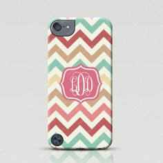 Monogrammed iPod Touch 5 Case - Mint Pink Chevron - Froolu