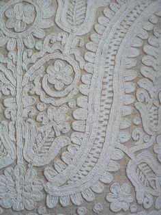 close up of Kalotaszegi embroidered pillow