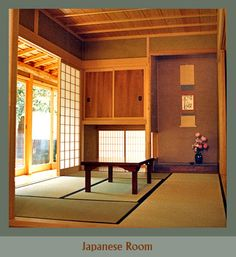 Tatami floor, sliding shoji screens, alcove for a seasonal scroll and flowers, deep closets with sliding doors, looking out onto the garden.