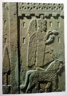 Winged god Ahura Mazda offering libation, relief, early 1st millennium BCE Urartian, from palace of Urartu