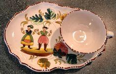 1940s Italian hand painted luncheon set