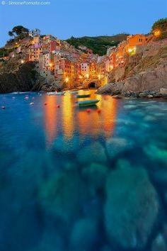 Lights at Riomaggiore, Cinque Terre, Liguria, Italy #ItalyVacation