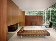 The Farnsworth House, built by Ludwig Mies van der Rohe in 1951 and located near Plano, Illinois, is one of the most famous examples of modernist domestic architecture and was considered unprecedented in its day.