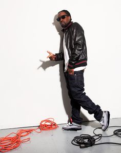 "Wale sporting the Air Jordan retro 3 ""stealth"""