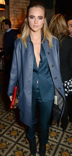 British model and Brit Rhythm campaign star Suki Waterhouse wearing Burberry tailoring at the Harvey Weinstein pre-BAFTA dinner in London