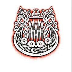 Lyre / Drakkar - time lapse video process 🤔 Awesome harp music by - Patrick Ball - the butterfly 🔥🤘 (iPad pro + apple pencil + Procreate app = sketch, workflow) - эскиз (Лира / Драккар) процесс в тайм лапс видео ✏️ Celtic Knot Tattoo, Celtic Tattoos, Viking Tattoos, Warrior Tattoos, Nordic Symbols, Viking Symbols, Viking Art, Armor Tattoo, Norse Tattoo