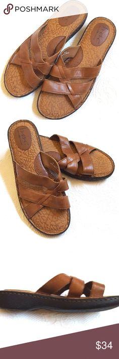 450e50af3da0 BORN BOC Slide Sandals Brown Tan Leather Comfort BORN brown leather slide  sandals. Size 9