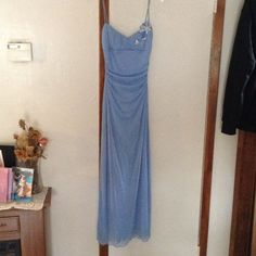 Elegant Prom Dress Blue with Flower Sequence Prom Dress. Worn once. Straps and back side has tiny spots with a few pulls. Still in Good condition!!! Macys Dresses Prom