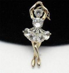 RARE Vintage Reja Rhinestone Figural Ballerina Dancer Brooch Pin http://www.ebay.com/itm/Rare-Vintage-REJA-Rhinestone-Figural-Ballerina-Dancer-Brooch-Pin-/181116282613?pt=Vintage_Costume_Jewelry=item2a2b5f26f5