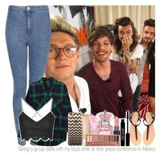 """Taking a group selfie with my boys while at their press-conference in Mexico"" by marissaackles997 ❤ liked on Polyvore featuring Topshop, Zara, Monki, Lord & Berry, Casetify, Benefit, Victoria's Secret and Urban Decay"