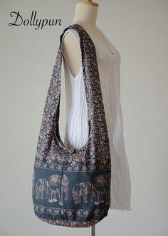 Smoky Gray - Bohemian Hippie Elephant Printed Cotton Crossbody Bag Sling Handmade Shoulder Bag Boho Hobo Messenger Bag Purse E161