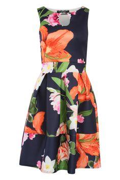 Tropical Flower Print Skater Dress in Navy Blue