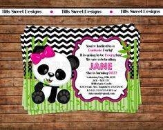 Panda Bear Invitation  Panda Invitation  by TiffsSweetDesigns, $10.50