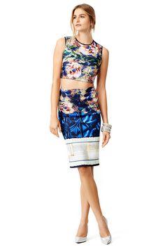 5b32dfe472e James Joyce Floral Sleeveless Crop Top and skirt by Clover Canyon Clover  Canyon