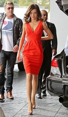 Miranda Kerr #HauteCouture #Sexy coral orange elegant sexy summer dress