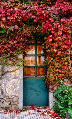 Cambados, Pontevedra, Spain Entrance Ways, Grand Entrance, Gate Hardware, Vintage Doors, Unique Doors, Door Knockers, Garden Gates, Fall Flowers, Open Up
