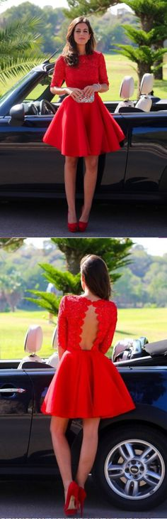 Elegant Red Lace Half Sleeve Short Prom Gown Homecoming Dress from www.27dress.com