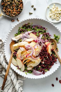 Healthy fall brussels sprouts kale apple salad with a light maple cider dressing. This beautiful, fall-inspired kale apple salad has wonderful flavors and textures from tangy gorgonzola, dried cranberries and a pecan pumpkin seed crunch mixture. Enjoy the perfect lunch or side dish all season long! #salad #healthylunch #sidedish #thanksgiving #kale #vegetarian Kale Apple Salad, Apple Salad Recipes, Lunch Recipes, Shredded Brussel Sprouts, Brussels Sprouts, Honeycrisp Apples, Roasted Butternut Squash, Dried Cranberries, Pecan