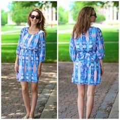 """BUY IT HERE, NOW! Ikat bow back dress in blues  ORIGINAL Price: $32.00, Free Shipping 50% OFF PRICE: $16.00 ALL SALES FINAL - NO RETURNS!  Options: 6 small Model is wearing small. Made from 100% polyester, completely lined. Fits true to size.  small - 37"""" bust, 34.5"""" long  medium - 39"""" bust, 35"""" long  large - 41"""" bust, 35.5"""" long COMMENT """"SOLD AND YOUR SIZE"""". THEN CLICK THE PICTURE TO REGISTER OR INCLUDE YOUR EMAIL ADDRESS! (YOU ONLY NEED TO REGISTER ONCE!)"""