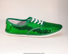 Sparkle with these sequins! CVO Kelly Green Sequin Canvas Sneaker Tennis by princesspumps