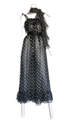 Vintage Ysl Chiffon Dress Saint Lau Rive Gauche