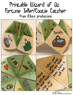 Free Printable Wizard of Oz Cootie Catcher / Fortune Teller from B.Nute productions