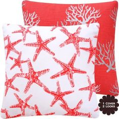 """Wonders of the Seas Salmon Collection - 18"""" Square Sofa / Chair Decorative Pillow Cover - Beach, Sea, Coral and Star Fish - Bright Salmon Orange, White and Gray / Grey Hues - 1 Cover, 2 Looks by Chloe & Olive, http://www.amazon.com/dp/B00CL3UBX0/ref=cm_sw_r_pi_dp_RWjXrb17DR507"""