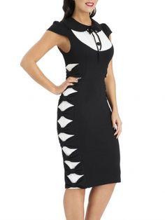 "Women's ""Pintuck Side Bow"" Pencil Dress by Voodoo Vixen (Black)"