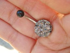 Belly Button Jewelry Grey Druzy Crystal Pyrite by Azeetadesigns