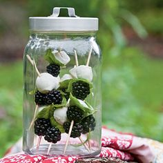 This is a lovely idea for an outdoor party-- the appetizer is sealed tightly in the jar, which also serves as a beautiful tabletop decoration.