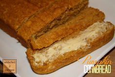 Pumpkin Cornbread: VZ--this needs MORE pumpkin. Almost all the flavors are subtle to the point of not satisfying anything. Super easy though! Served with a dip made of a mix of : Greek yogurt, PB, honey, cinnamon Jiffy Recipes, Jiffy Cornbread Recipes, Baking Recipes, Cornbread Mix, Cornmeal Recipes, Pumpkin Cornbread Recipe, Pumpkin Recipes, Fall Recipes, Pumpkin Pumpkin