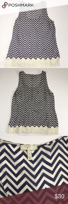 Joie Navy and White Chevron Silk Tank Top Joie 100% silk tank top in navy and white chevron print. Loose fit, size S, TTS. In great condition except for a very faint stain on the hem – see pictures. Bundle two or more items from my closet to save 20%. Joie Tops Tank Tops