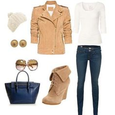 Leather Jacket & Matching Brown Wedges/Boot