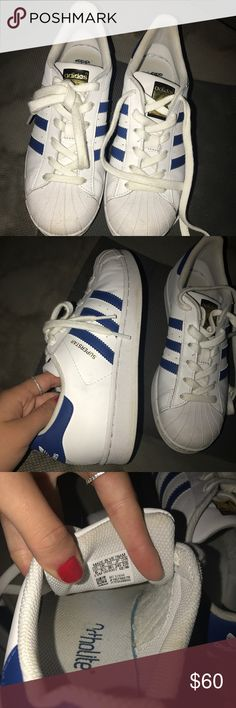 Blue addidas shell toes Worn once, basically brand new! I paid 85 for them I'm willing to sell them for 60! They are a size 6 unisex, so in womens they'd be a 7! addidas Shoes Sneakers