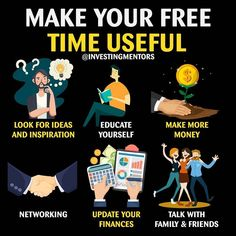 Time is money 💱💵💶 How you spend your free time matters Hope you all are investing -📈📉 Make use of your time and make more money Business Money, Business Tips, Online Business, Self Development, Personal Development, Life Skills, Life Lessons, Business Motivation, Motivation Goals
