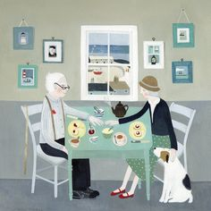 'Cream Tea For two' By Painter Mani Parkes. Blank Art Cards By Green Pebble. www.greenpebble.co.uk