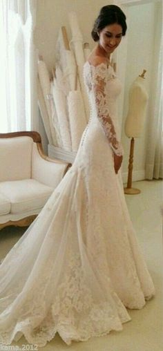 elegant lace wedding dresses with long sleeves #mermaidweddingdresses
