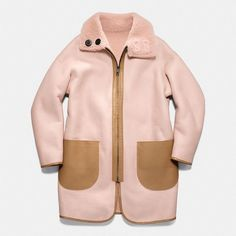 Coach Reversible Shearling Cardigan Coat (8.015 BRL) ❤ liked on Polyvore featuring pink