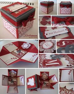 Invitation folds into a box. Explosion Box, Exploding Box Card, Diy And Crafts, Paper Crafts, Diy Gifts For Him, Pop Up Cards, Diy Box, Diy Cards, Scrapbook Cards