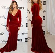 Khloe Kardashian 2015 Oscar Party Wine Red Mother's Dresses Long Sleeves Mermaid Velvet Red Carpet Evening Dresses FMG05