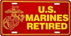 U.S. Marines Retired License Plate