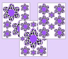 Purple Leopard Animal Print Flower Wall Decals Floral Teen Girl Room Stickers  #decampstudios