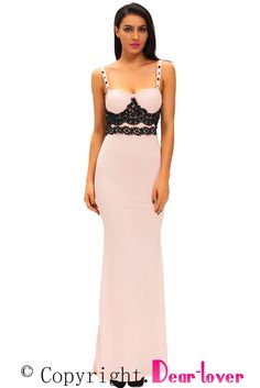 39966db1053 Black Lace Detail Pink Long Prom Party Maxi Dress