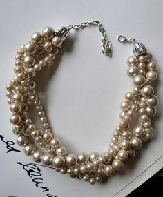 Champán grueso perla 4 filamento trenzado por SarahRenaeJewelry