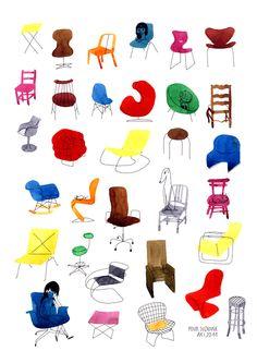 illustration chaises_designers_ par Aki alias Delphine Mach