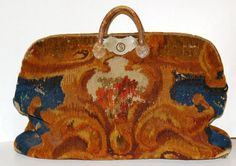 American carpetbag circa 1860; wool with leather handles