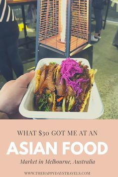 I set myself a quest when I visited Hawker 88 Night Market at Queen Victoria Market in Melbourne, Australia. I took $30 and decided to find out what 30 dollars would get me at an Asian Street Food Market. I wrote my story here, read it and pin for later!! Find out what $30 can get you at an Asian Street Food market in Melbourne, Australia! #Melbourne #StreetFood #Challenge #FoodChallenge #StreetFoodMarket #Australia #VisitVictoria #VisitMelbourne #ExploreOz Queen Victoria Market, Visit Victoria, Visit Melbourne, Melbourne Australia, Australia Travel, Wonton Tacos, Thai Mango, Crispy Tacos, Khao Soi
