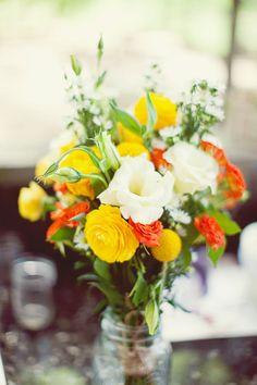 yellow + white + orange flowers = pretty combination